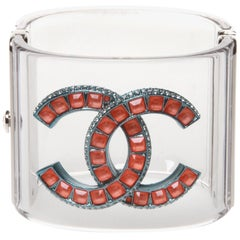 Chanel Lucite CC Logo Cuff