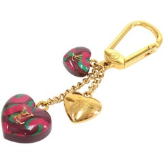 Louis Vuitton Purple Leopard Print Heart Shaped Key Chain /  Bag Charm