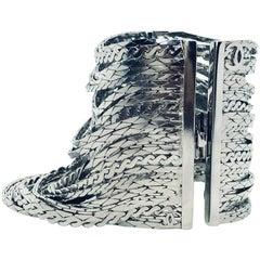Chanel 90s Silver Plated Multi Strand Cuff Bracelet