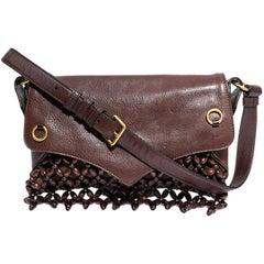 YSL SAINT LAURENT Bag in Brown Leather, Velvet Calfskin and Brown Wood Beads