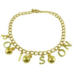 Christian Dior Vintage Gold Toned Poison Flacons Necklace