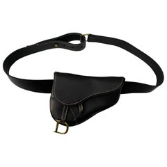 Christian Dior Black Leather Belt Bags