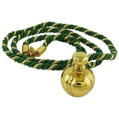 Christian Dior Vintage Gold Toned Miniature Perfume Bottle Pendant Necklace