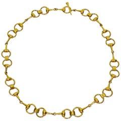 Gucci Vintage Gold Toned Horse Bit Chain Belt Necklace