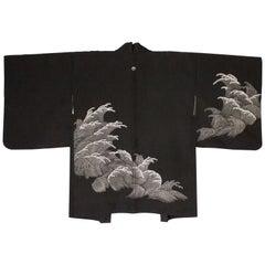 Black Silk Vintage Kimono with Wave detail, 1980s