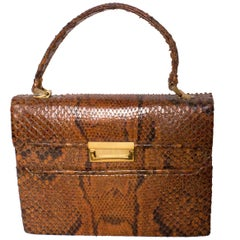 Tan and Brown Vintage Top handle Snakeskin Bag, 1940s