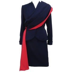 Dan Millstein Adaptation of Balenciaga Blue and Red Suit With Drape, 1950s