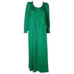 Jean Varon Vintage Green Gown, 1970s
