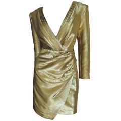 Saint Laurent Gold Plunge Dress