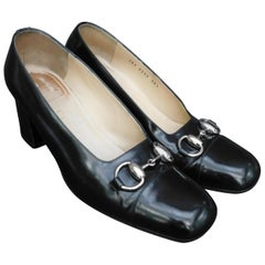 Black Vintage Gucci Cap Toe Pumps with Silver Horse Bit