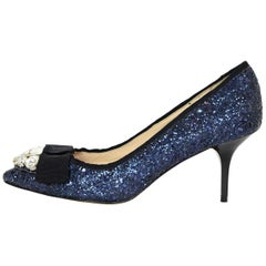 Lucy Choi Royal Navy Blue Glitter Pointed Toe Pumps W/ Bow & Crystals Sz 6