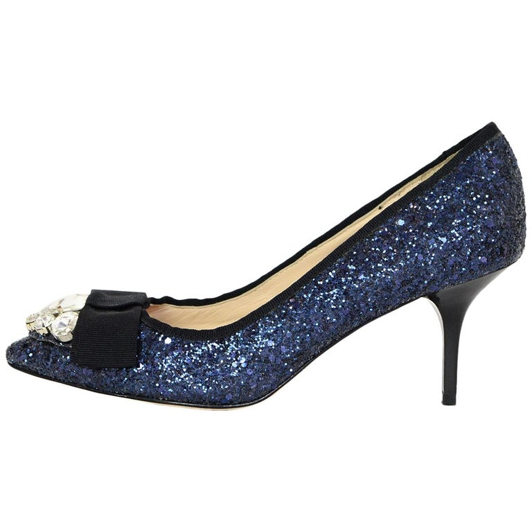 777116b52 Lucy Choi Royal Navy Blue Glitter Pointed Toe Pumps W/ Bow & Crystals Sz 6