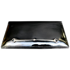 Vintage Gucci Black Leather Wallet With Silver Horse Bit