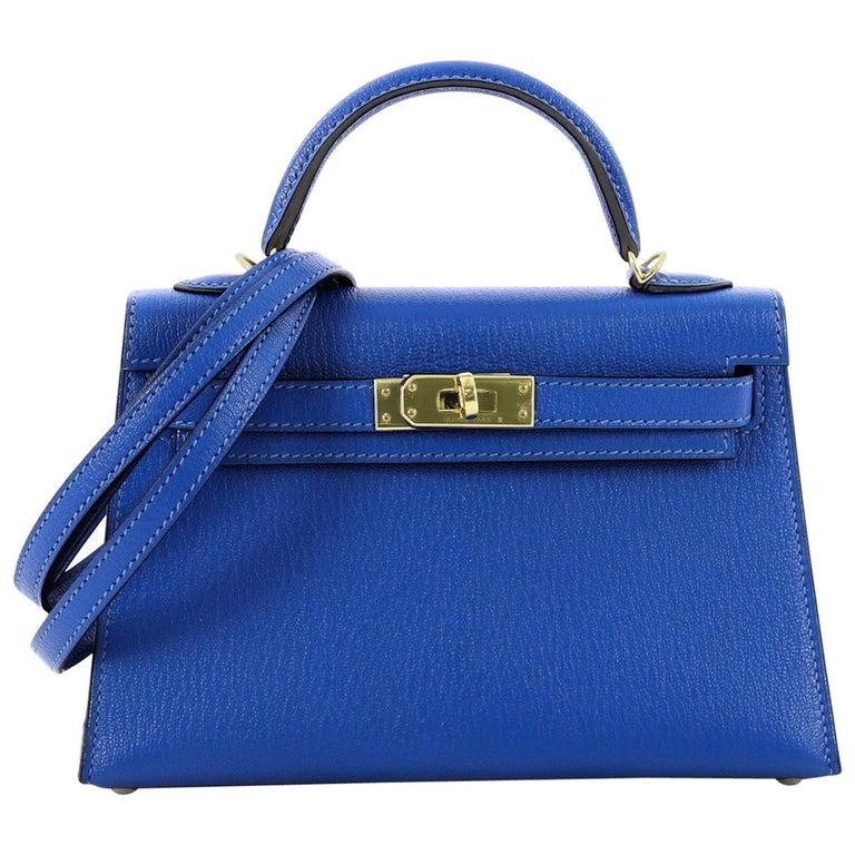 060037d35169 Hermes Kelly Mini II Handbag Blue Hydra Chevre Mysore with Gold Hardware 20  For Sale at 1stdibs