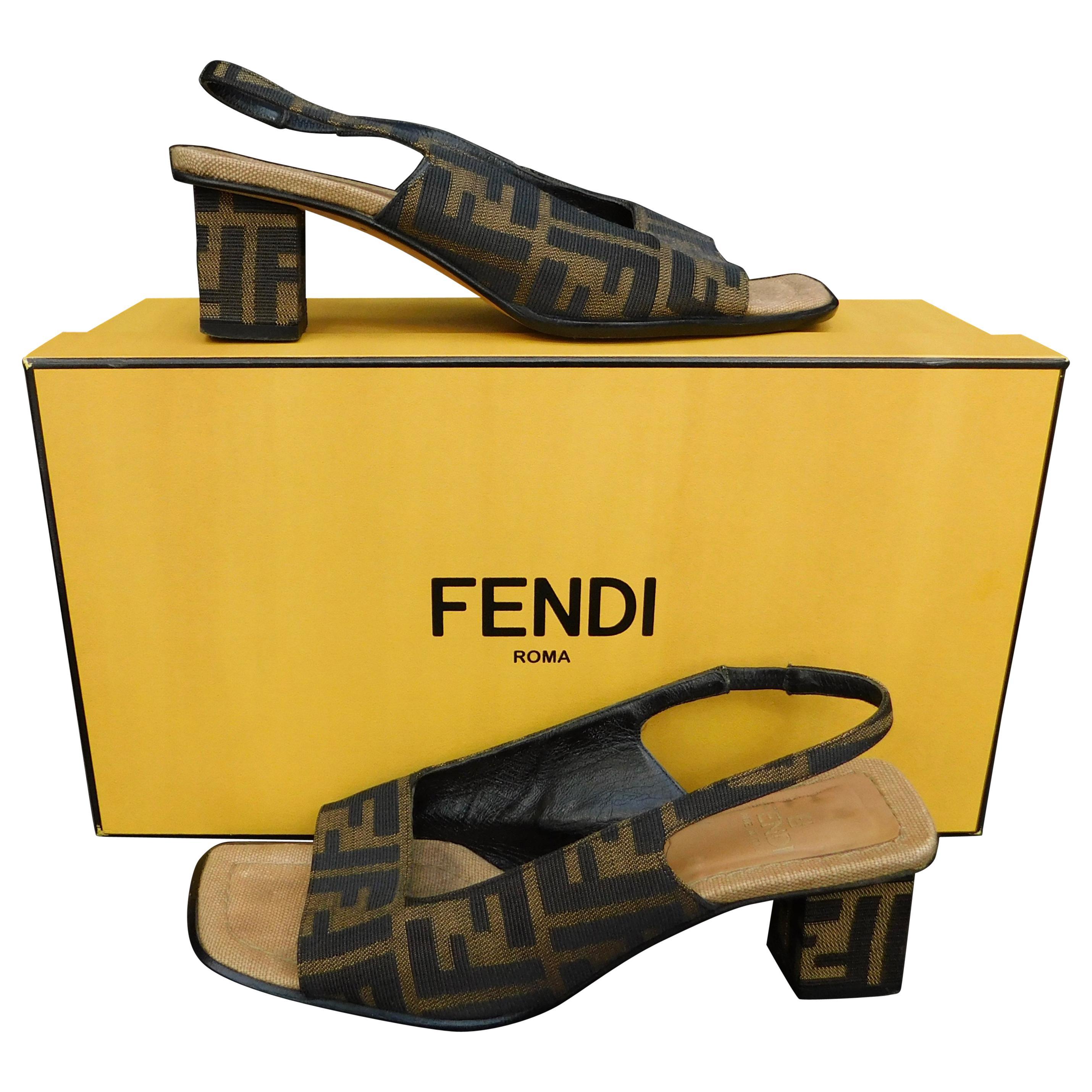 dbab19a99d30 Vintage Fendi Zucca Logo Slingback Pump Sandals at 1stdibs