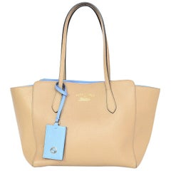 Gucci Beige/Blue Pebbled Leather Small Swing Tote Bag rt. $1,100
