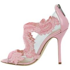 Oscar de la Renta Pink Embellished PVC Heel
