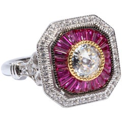 Art Deco Style Pretty Diamond Ruby Sterling Ring