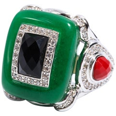 Art Deco Style Jade Onyx Coral Large Statement Ring