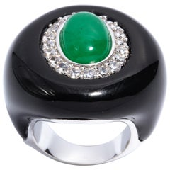 Art Deco Style Palm Beach Faux Diamond Jade Onyx Large Statement Ring