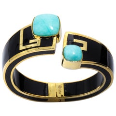 Magnificent Costume Jewelry Art Deco Style Palm Beach Enamel Cuff Bangle