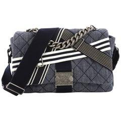 Chanel Airlines Buckle Messenger Bag Quilted Denim Medium