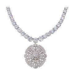 Magnificent Costume Jewelry Edwardian Style Faux Diamond Pendant Necklace