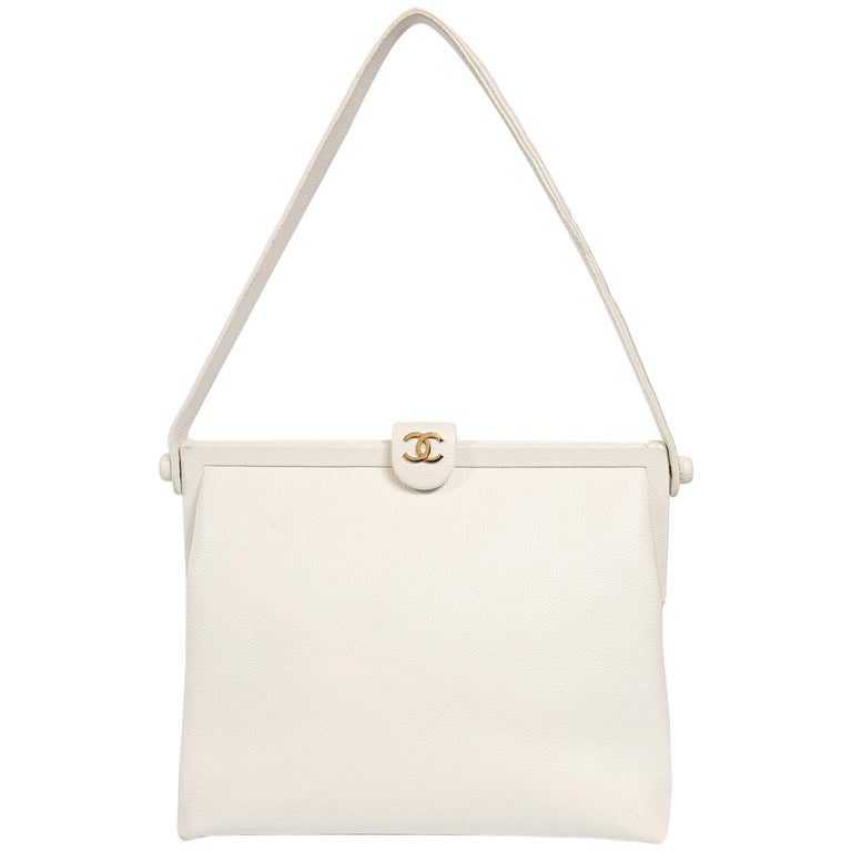 Chanel White Caviar Frame Top Bag For Sale