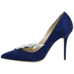 Manolo Blahnik Navy Satin and Crystal Embellished Pumps