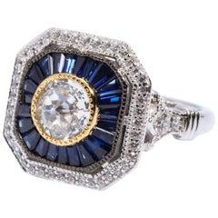Magnificent Costume Jewelry Pretty Art Deco Style Diamond Sapphire Sterling Ring