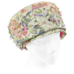 CHRISTIAN DIOR Chapeaux c.1960's Beaded Leaf Jacquard Peach Basket Pillbox Hat