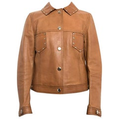 Gucci Tan Brown Leather 1970s Style Snap Jacket with Studs, circa 2010