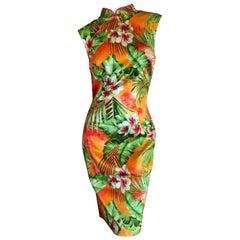 D&G Dolce & Gabbana Vintage Floral Cheongsam Style Cocktail Dress