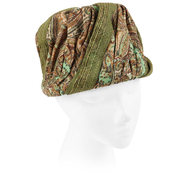 Miss Dior by CHRISTIAN DIOR c.1960s Green Paisley Silk & Straw Pleated Toque Hat For Sale