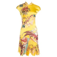 Roberto Cavalli Vintage Backless Yellow Cheongsam Style Floral with Pheasant