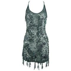 Malandrino Crochet Leather Faux Pearl Dress