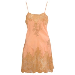 French Handmade Alencon Lace and Silk Slip, 1920s