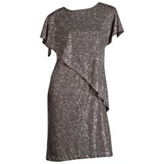 "1970s Vintage Metallic Silver Glitter ""Sequin"" Disco Dress"