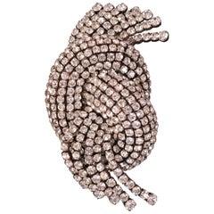 1920er Diamante Kleid- oder Pelzclip, Hergestellt in Frankreich