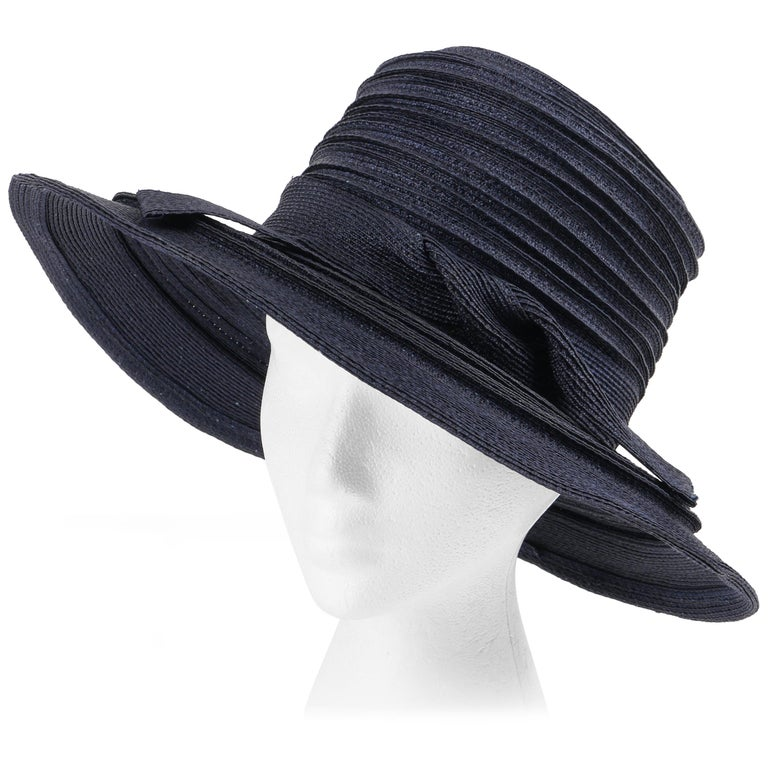 a71b1948156 CHRISTIAN DIOR Chapeaux c.1960 s Navy Blue Raffia Twisted Bow Cartwheel Hat  For Sale