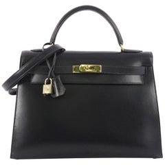 Hermes Blue Marine Box Calf with Gold Hardware 32 Kelly Handbag