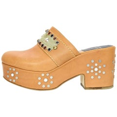Laurence Dacade Tan Leather Studded Platform Clog Mules