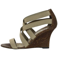Manolo Blahnik Taupe Strappy Elastic Cork Wedge Sandals Sz 39.5