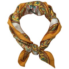 Hermes Ciels Byzantins Orange Silk Scarf