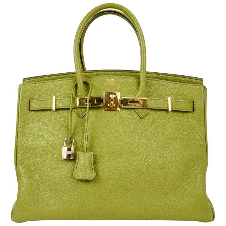 Hermes Birkin 35 Bag Chartreuse Togo Gold Hardware