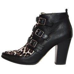 Jimmy Choo Black / Leopard Print Leather and Pony Hair Ankle Boots