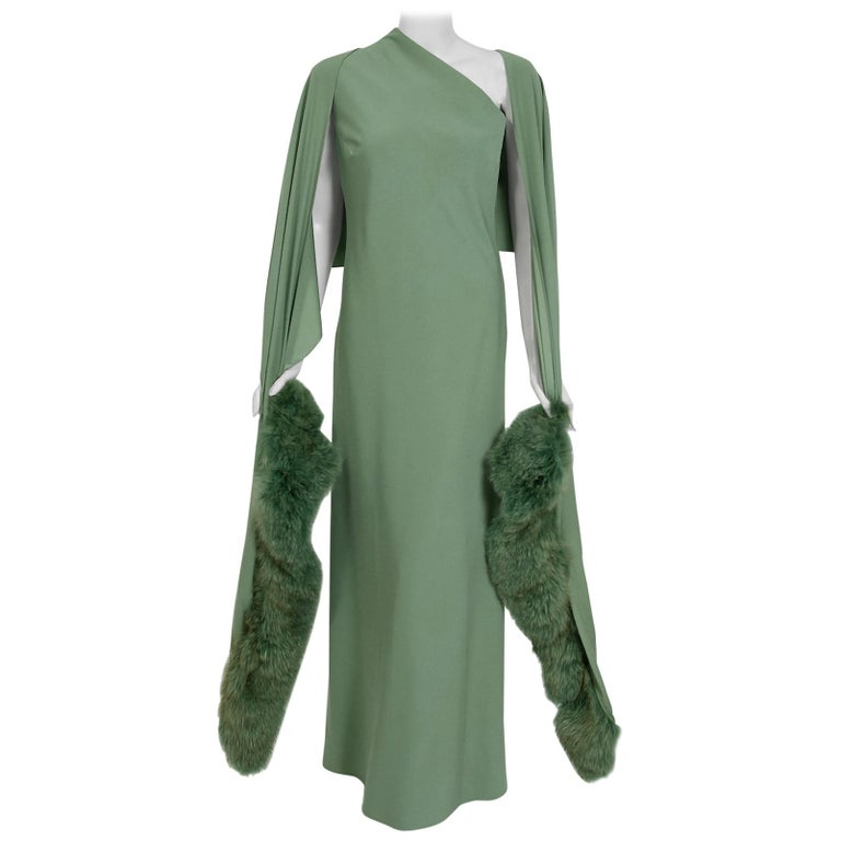 1960's Pauline Trigere Seafoam Green Crepe One-Shoulder Bias Cut Gown & Fur Wrap