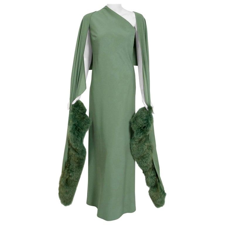 Vintage 1960's Pauline Trigere Seafoam Green Crepe One-Shoulder Gown & Fur Wrap For Sale