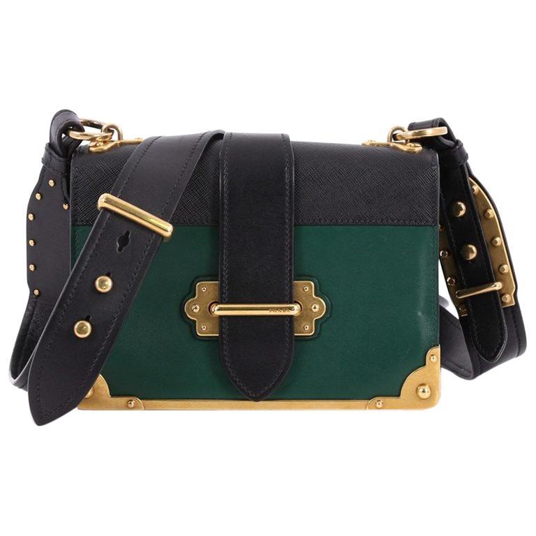 9759ff8ae676 Prada Cahier Crossbody Bag City Calf and Saffiano Leather Small For Sale
