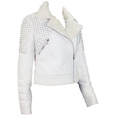 New Versace White Leather Fur Collar Beaded Down Jacket w/ Swarovski Crystals 42